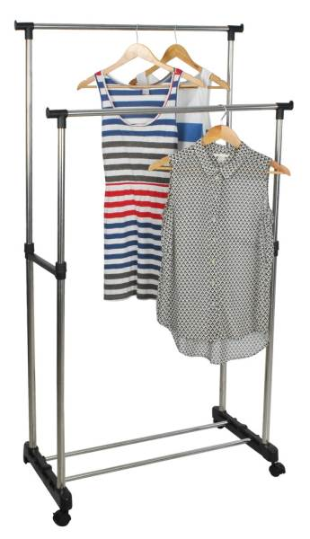 ISO 5346 Nastavitelný dvojitý stojan na oděvy se 4 kolečky a 2 tyčemi 4