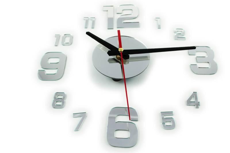 KIK Dizajnové 3D nalepovacie hodiny zrkadlo 130 cm strieborné