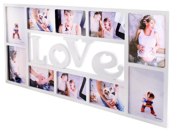 ISO 5592 Fotorám na 10 fotek Love 72x36,5cm