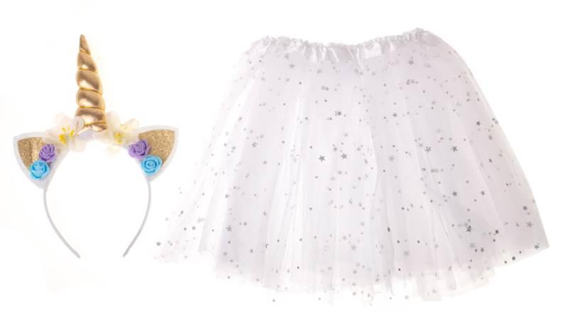 KIK Detský kostým biela sukňa s čelenkou jednorožec