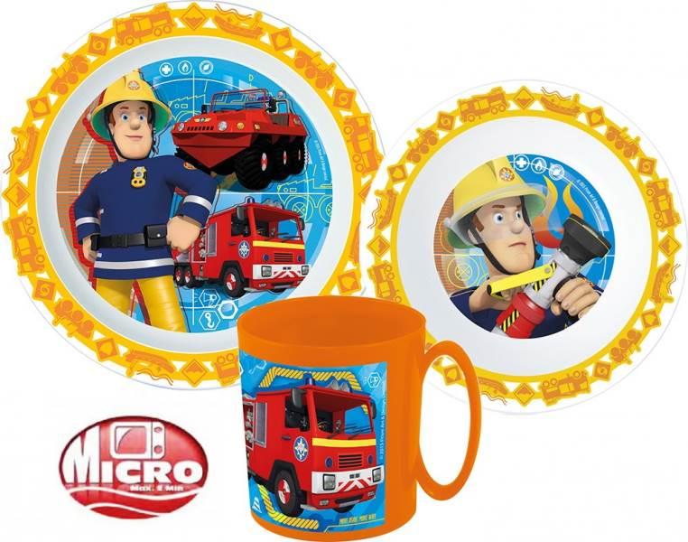 Javoli Detská jedálenská súprava Micro Požiarnik Sam 3-dielna