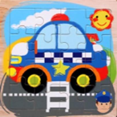 KIK Drevené puzzle Polícia 16 dielikov