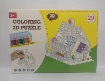 KIK Papírové 3D puzzle s barvičkami Dům 29 dílů