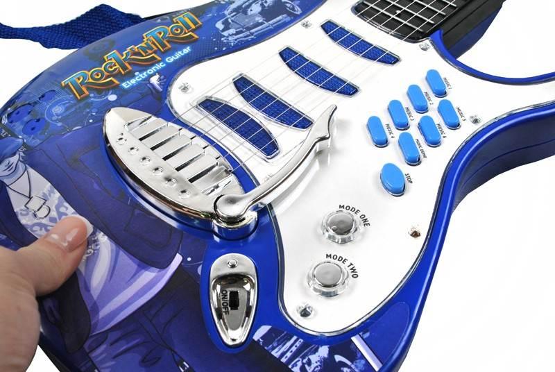 Detská rocková elektrická gitara na batérie + zosilňovač a mikrofón Blue8