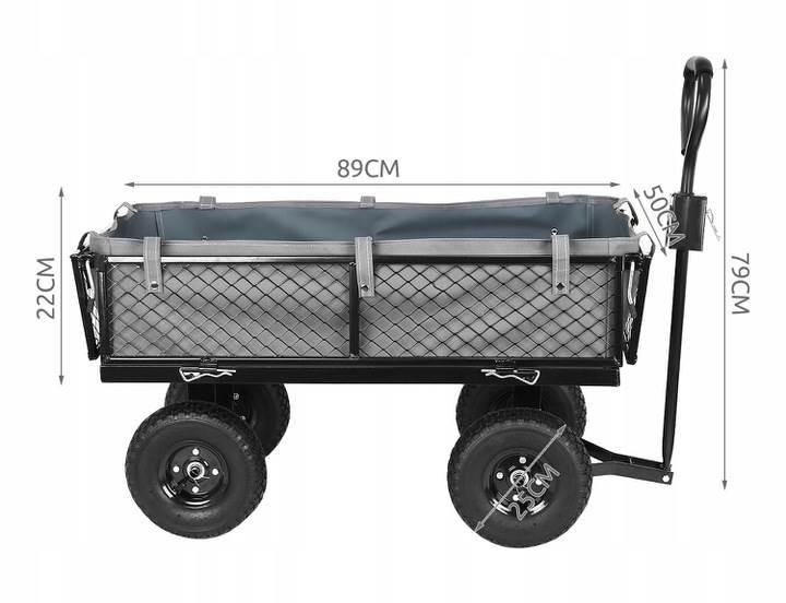 Malatec 9032 Zahradní vozík s výklopnými boky nosnost 350 Kg 7
