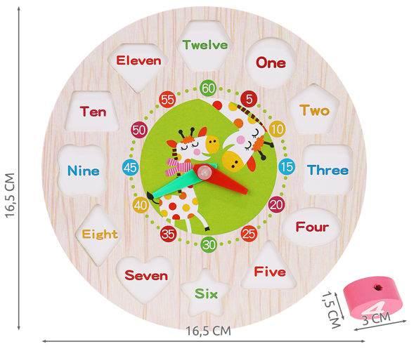 Kruzzel 9356 Dřevěné dětské edukační hodiny3