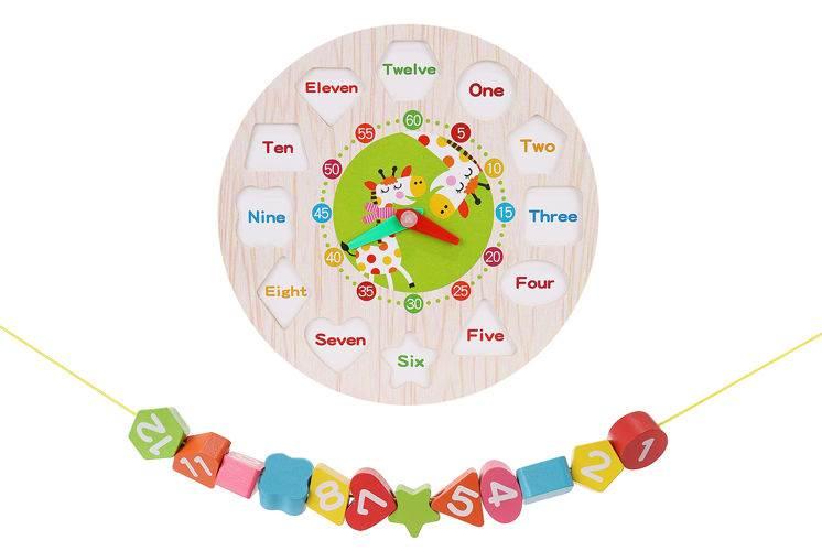 Kruzzel 9356 Dřevěné dětské edukační hodiny2