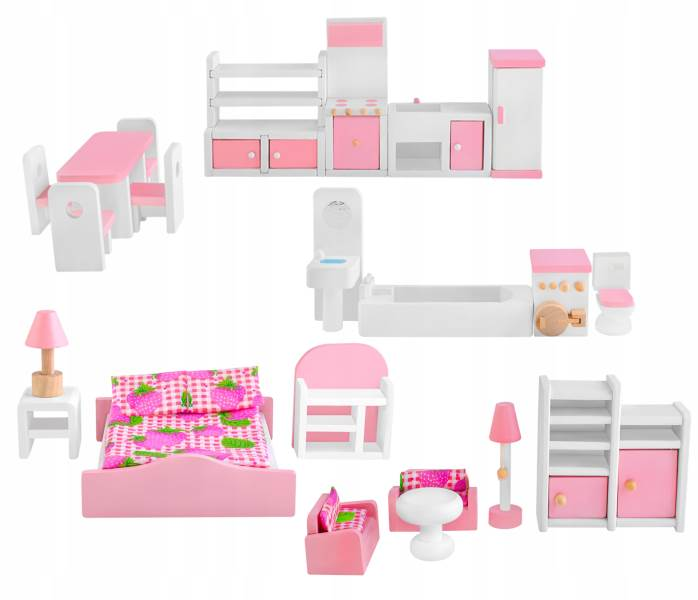 ISO 9413 Dřevěný nábytek do domečku pro panenky 23 ks