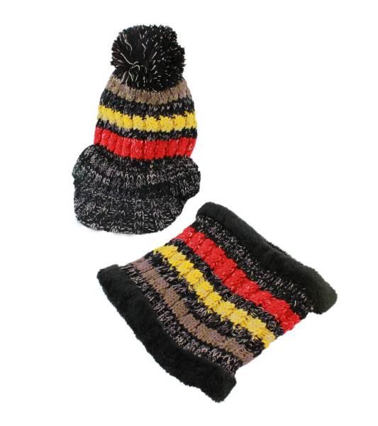 APT Dámska zimná čiapka s nákrčníkom čierna2