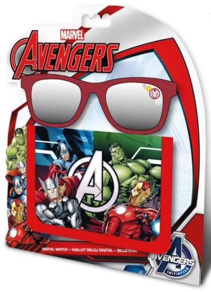 Javoli Slnečné okuliare pre deti Avengers s peňaženkou červené