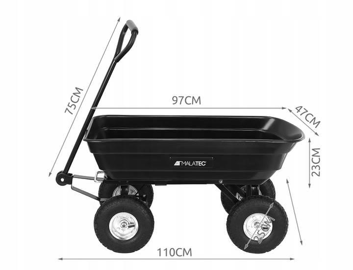 Malatec 9043 Zahradní přepravní vozík výklopný 350 Kg černá6