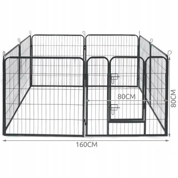 Malatec 9041 Kovová ohrádka pre psíkov a šteniatka 8-dielna 80 x 80 cm3