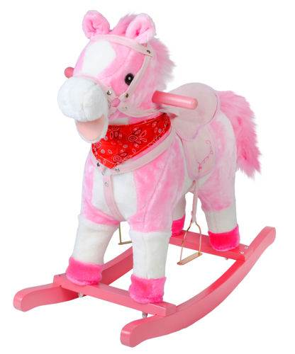ISO 4588 Houpací kůň se zvuky - růžový 65 cm