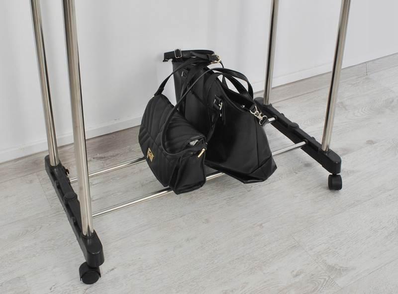 ISO 5346 Nastavitelný dvojitý stojan na oděvy se 4 kolečky a 2 tyčemi 2