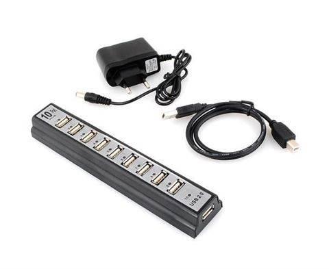 ISO USB HUB 2.0 - 10 portov so zdrojom