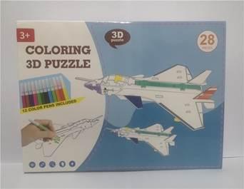 KIK Papírové 3D puzzle s barvičkami Letadlo 28 dílů