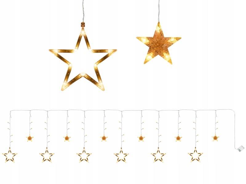 ISO 7114 Světelný závěs hvězdičky 138 LED teplá bílá