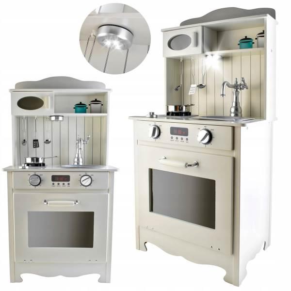 Kruzzel 9146 XL Detská drevená kuchynka s LED a príslušenstvom biela