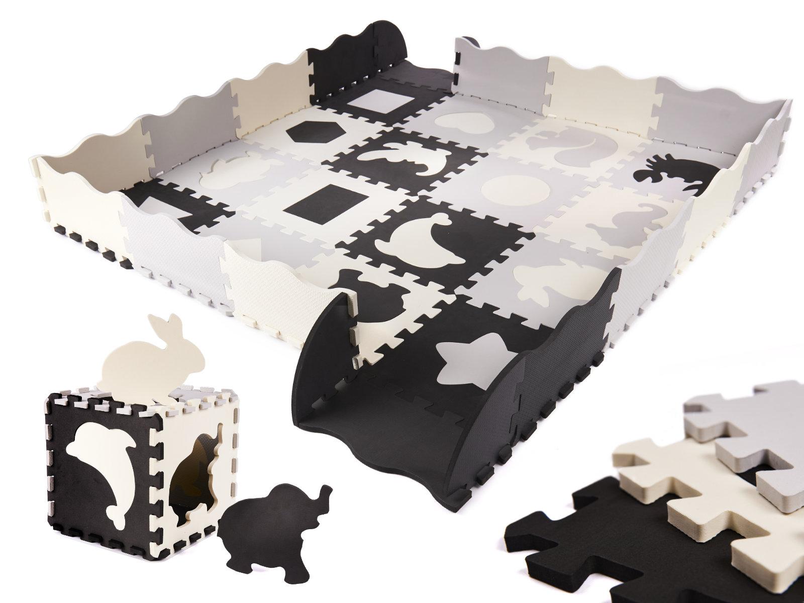 KIK Kontrastné penové puzzle 30 x 30 cm, 36 ks čierno, šedo, krémové