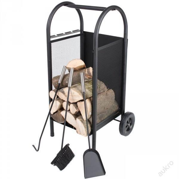 Kaminer PK002 Vozík a zásobník na drevo ku krbu a krbové náradie