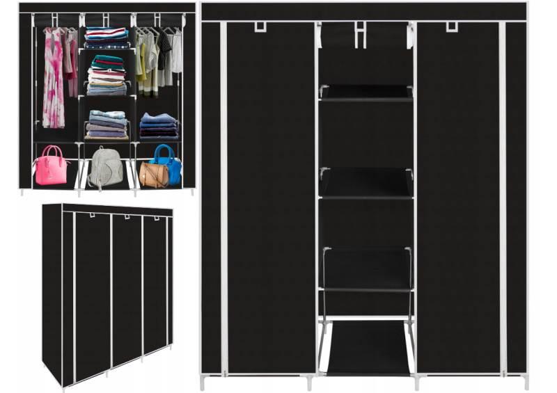 ISO Dvojitá skriňa na oblečenie 166 x 125 x 43 cm čierna