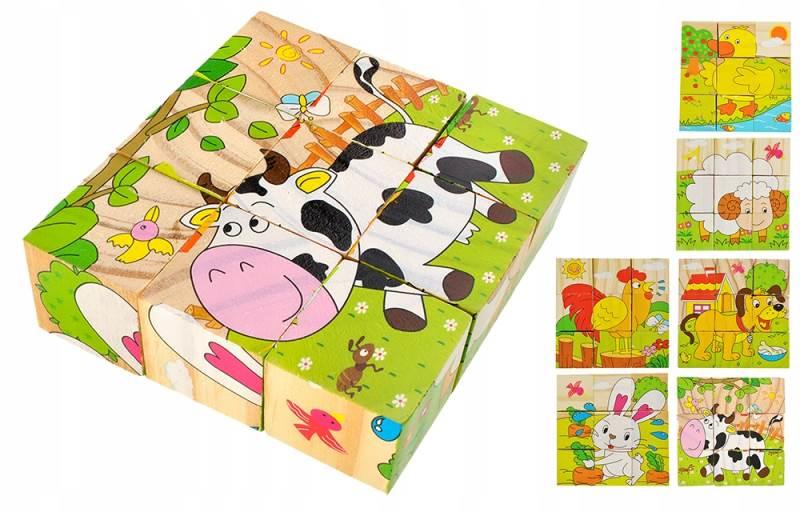ISO 6157 Drevené kocky farma 6 v 1