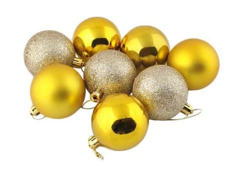 Vánoční koule plastové 8 ks / 6 cm zlaté