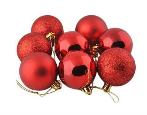 Vánoční koule plastové 8 ks / 6 cm červené