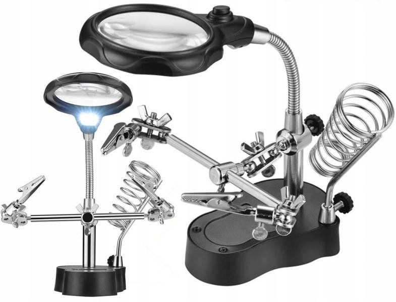 ISO držiačik s lupou-tretia ruka s LED osvetlením