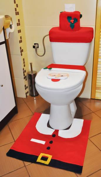 Vánoční potah na toaletu Santa Claus5