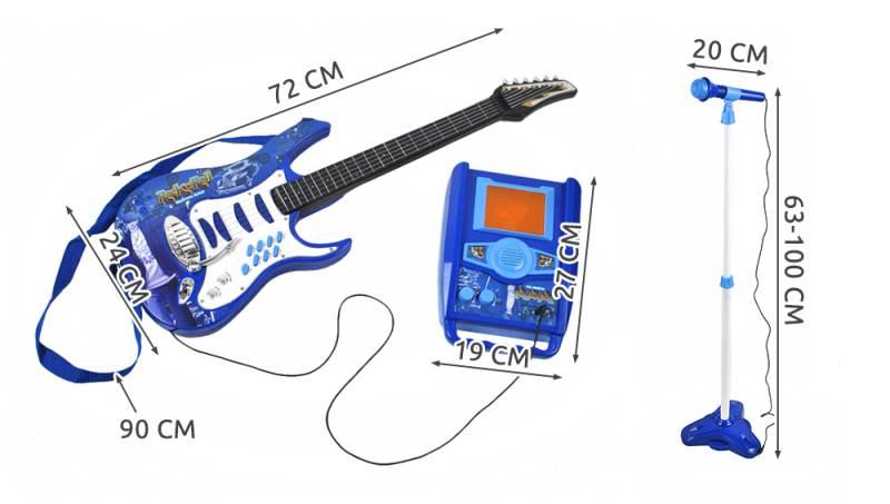 Detská rocková elektrická gitara na batérie + zosilňovač a mikrofón Blue2