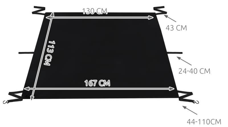 ISO 4565 Textilní clona na čelní sklo 165 x 110 cm2