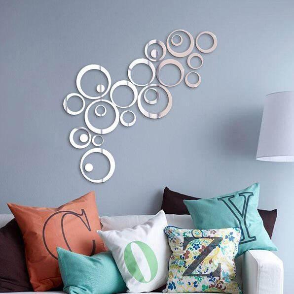 GFT Nálepky na stenu, zrkadlo kruhy 24ks