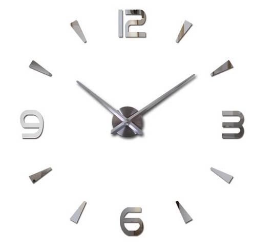 KIK Designové 3D nalepovací hodiny 120 cm stříbrné