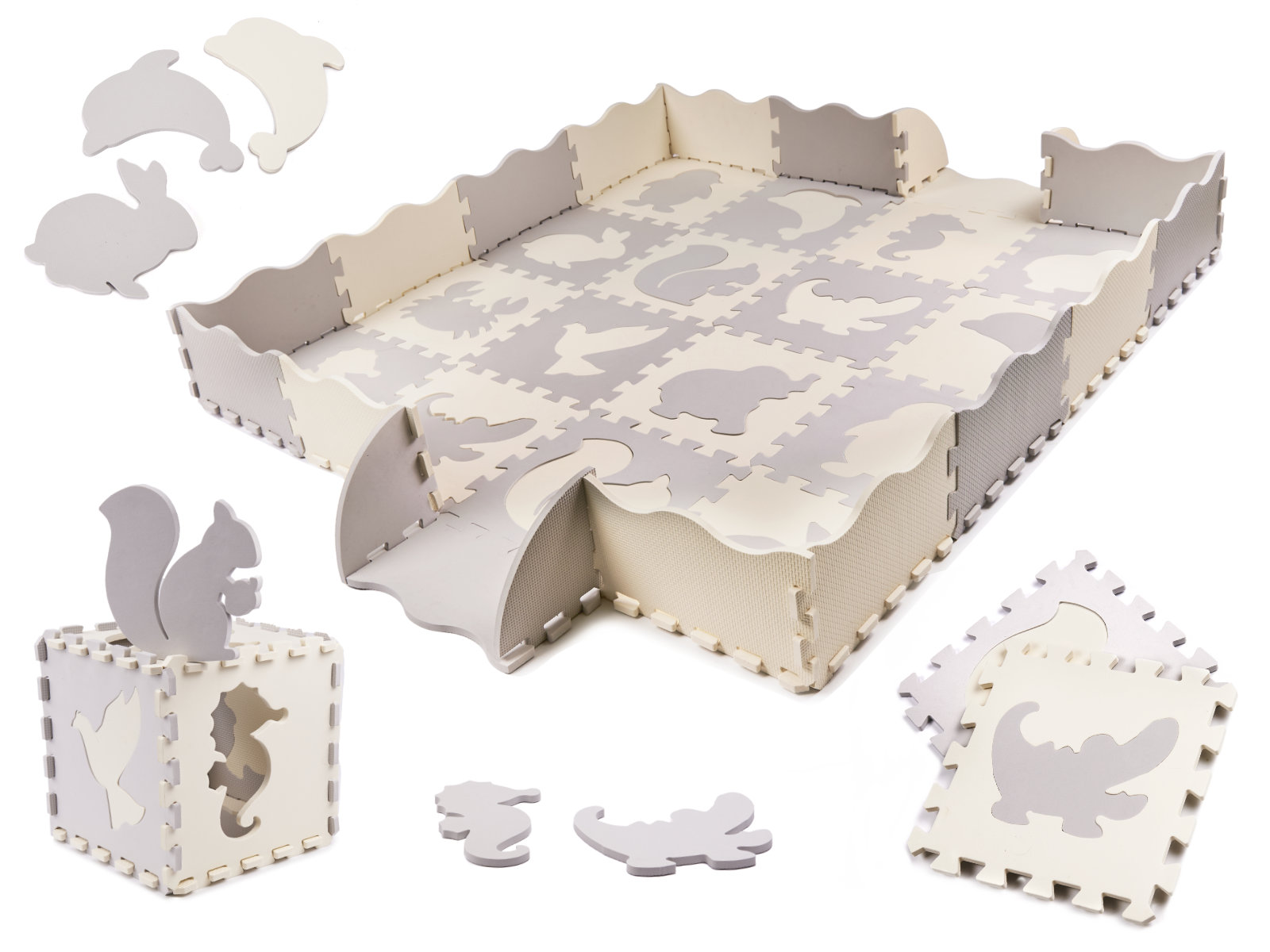 KIK Kontrastné penové puzzle 30 x 30 cm, 36 ks šedá, krémová