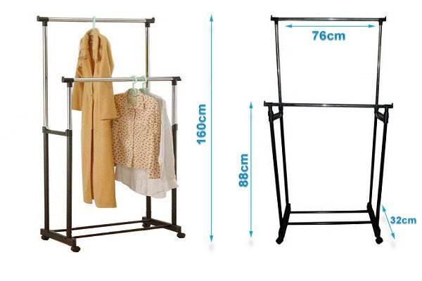 ISO 398 Nastavitelný dvojitý stojan na oděvy se 4 kolečky a 2 tyčemi 4