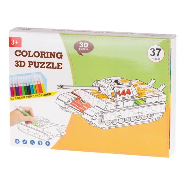 KIK Papírové 3D puzzle s barvičkami Tank 37 dílů1