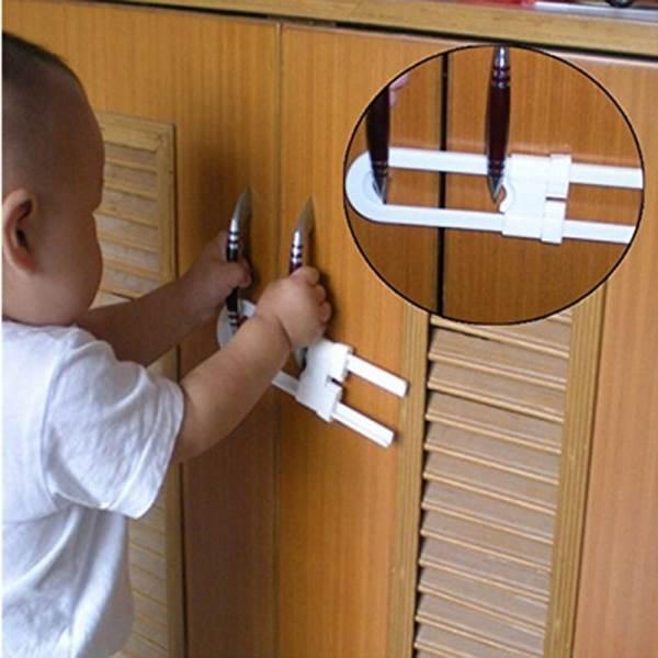 KIK KX7909 Dětský bezpečnostní zámek na nábytek 18x4cm bílá