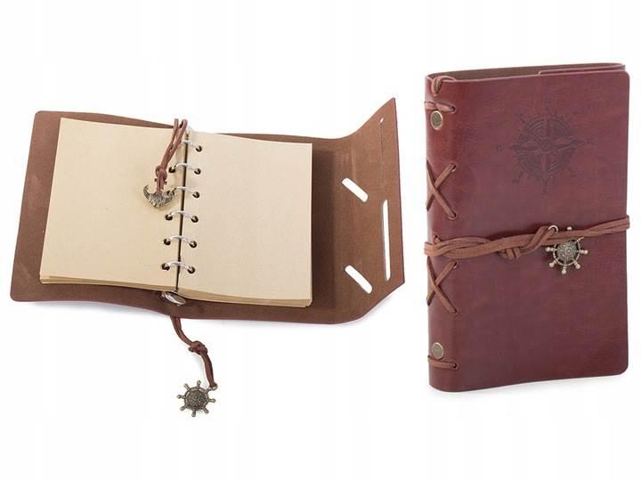Verk Cestovné denník s kompasom Vintage tmavo hnedá